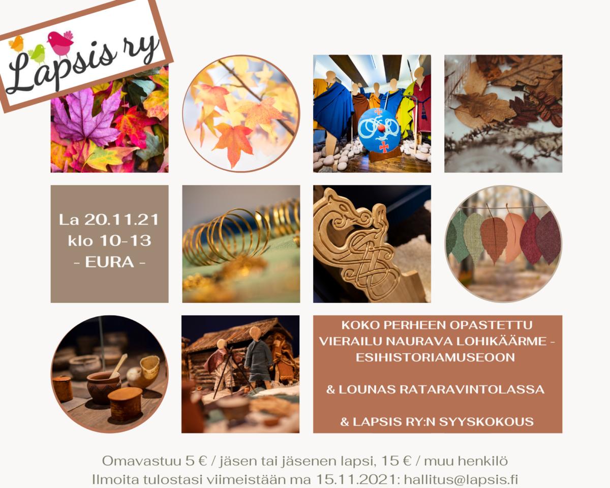La 20.11.2021 klo 10- Koko perheen museokierros Naurava Lohikäärme -esihistoriamuseossa, lounas Rataravintolassa ja syyskokous